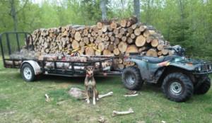 off the grid wood hauling splitting cutting atv trailer arctic cat
